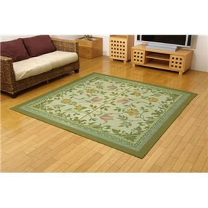 三重織り い草カーペット 『DXエンティス』 グリーン 江戸間6畳(約261×352cm)(裏:不織布)の詳細を見る