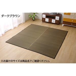 純国産/日本製 い草ラグカーペット 『Fソリッド』 ダークブラウン 約191×191cm(裏:ウレタン)の詳細を見る