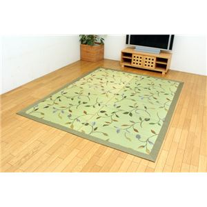 純国産 袋三重織 い草ラグカーペット 『フルート』 グリーン 約191×250cm - 拡大画像
