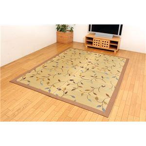 純国産 袋三重織 い草ラグカーペット 『DXフルート』 ベージュ 約191×191cm(裏:不織布) - 拡大画像