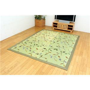 純国産 袋三重織 い草ラグカーペット 『DXフルート』 グリーン 約191×191cm(裏:不織布) - 拡大画像