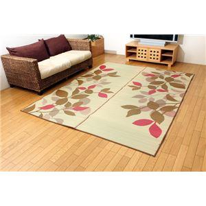 純国産 袋織 い草ラグカーペット 『Fブレス』 ブラウン 約191×191cm(裏:ウレタン) - 拡大画像