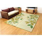 純国産 袋織 い草ラグカーペット 『Fブレス』 グリーン 約191×191cm(裏:ウレタン)