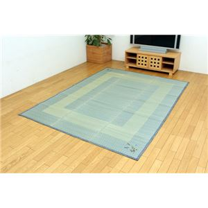 い草ラグカーペット 『D×いおり』 ブルー 約180×180cm (裏:不織布)正方形の詳細を見る