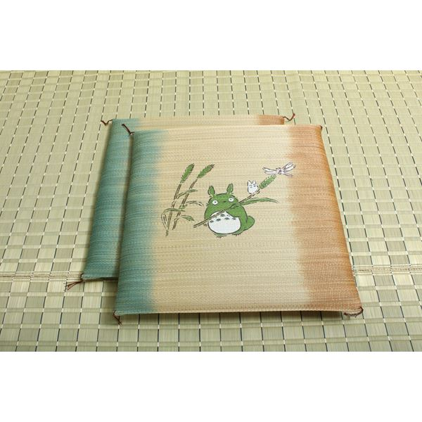 純国産/日本製 捺染返し い草座布団 『のはらトトロ 2枚組』 約55×55cm×2P