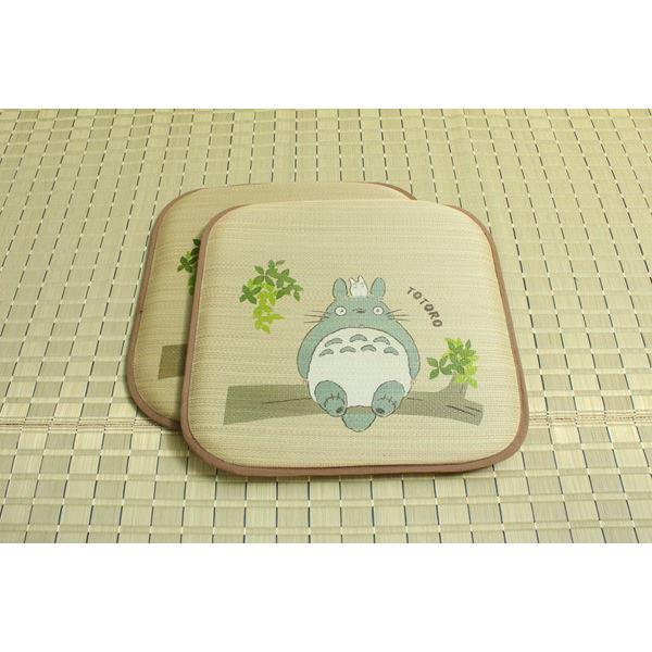 純国産/日本製 捺染アドラ い草座布団 『どんぐりの木 トトロ 2枚組』 約55×55cm×2P