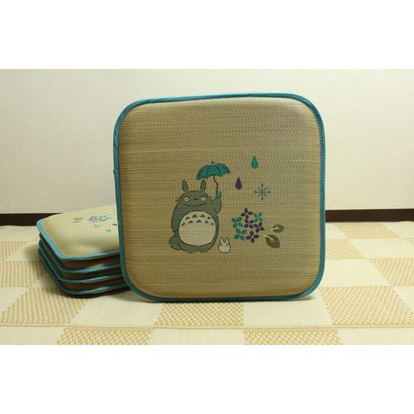純国産/日本製 捺染アドラ い草座布団 『あじさいトトロ 5枚組』 約55×55cm×5P