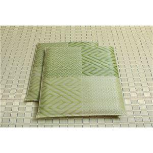 純国産/日本製 織込千鳥 い草座布団 『五風 2枚組』 グリーン 約55×55cm×2P - 拡大画像