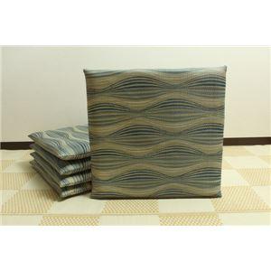 純国産/日本製 捺染返し い草座布団 『いぶき 5枚組』 ブルー 約55×55cm×5P - 拡大画像