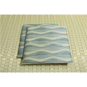 純国産/日本製 捺染返し い草座布団 『いぶき 2枚組』 ブルー 約55×55cm×2P - 拡大画像