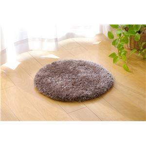 シャギー調 マルチチェアパッド 『クラウド(雲)チェアパッドLS』 ブラウン 35cm丸 - 拡大画像