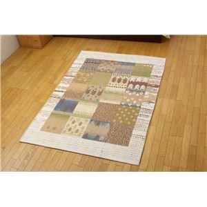 パッチワーク調 ベーシック ラグ 『ノマード ラグLS』 ベージュ 190×190cm 正方形の詳細を見る