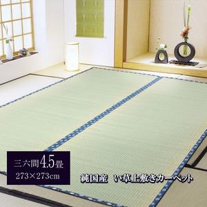 純国産/日本製 糸引織 い草上敷 『岩木』 三六間4.5畳(約273×273cm)の詳細を見る