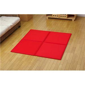 【日本製】コンパクト カラージョイントマット 『プリズムU畳』 レッド(赤) 約67×67cm(4枚1セット) - 拡大画像