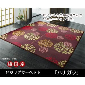 純国産 袋織い草カーペット 『ハナガラ』 ボルドー 約191×250cmの詳細を見る