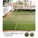ふっくらボリューム グラデーションい草ラグカーペット 『NSPマレ』 グリーン 200×200cm (裏:滑りにくい加工)