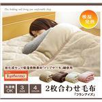 旭化成センイ トップサーモ使用 2枚合わせ 毛布 洗える 『フランアイズSD IT』 アイボリー 約160×200cm セミダブルの画像