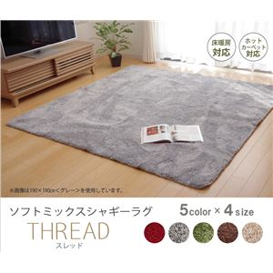 選べる5色 シャギー 洗えるラグ 長方形 『スレッド』 レッド 190×240cmの詳細を見る
