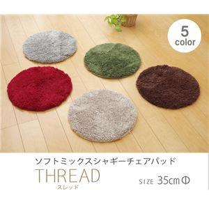 選べる5色 シャギー 洗えるラグ 円形 『スレッド』 グリーン 35cm丸の詳細を見る