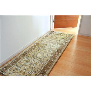 廊下敷 モケット織り 王朝柄 『オーク』 ベージュ 約80×340cm 滑りにくい加工の詳細を見る