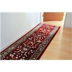 廊下敷き モケット織り 王朝柄 『オーク』 ワイン 約67×700cm 滑りにくい加工