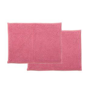 バスマット 吸水速乾 洗える 無地 『ショートモール』 ピンク 約45×60cm 2枚組