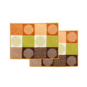 バスマット 洗える 『チェロ』 オレンジ 約45×60cm 滑りにくい加工 2枚組