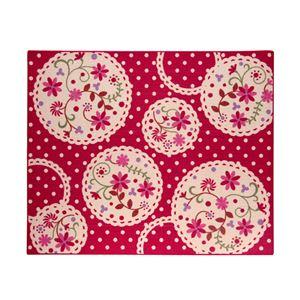 デスクカーペット 女の子 花柄 『パミュ ツー』 レッド 110×133cm