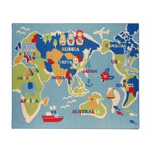 デスクカーペット 男の子 世界地図柄 『ワールド』 ブルー 110×133cmの詳細を見る