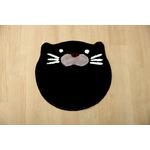 かわいいアクセントマット 『動物マット(ねこ)』 ブラック 約40cm丸 裏面滑りにくい加工