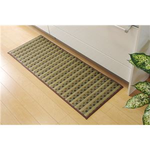 キッチンマット 120 い草ドット柄 グリーン 『ドロップ』 約43×120cm (裏面:滑りにくい加工) - 拡大画像