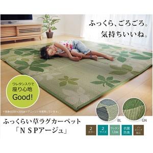ふっくらボリューム い草ラグカーペット リーフ柄 『NSPアージュ』 グリーン 約200×200cm (裏面:滑りにくい加工) - 拡大画像