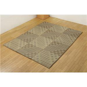 ふっくらボリューム い草ラグカーペット ドット柄 『NSPサークル』 ブラウン 約200×200cm (裏面:滑りにくい加工) - 拡大画像
