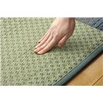 ふっくら い草ラグカーペット 幾何柄 『FX格子』 ブルー 約191×300cm (裏面:滑りにくい加工)