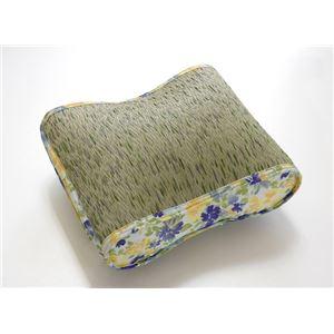 クッション い草クッション 花柄 『フォンターナ フィット』 ブルー 約40×30cm