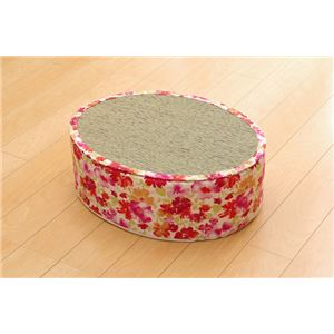 スツール い草 花柄 『フォンターナ 楕円 スツール』 ピンク 約45×35×H15cm - 拡大画像