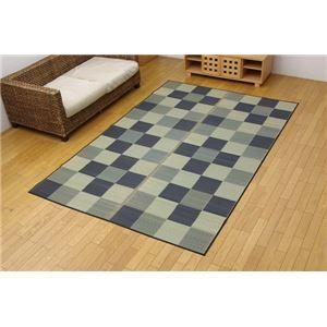 純国産 い草花ござカーペット 『ブロック』 グレー 江戸間4.5畳(261×261cm) - 拡大画像