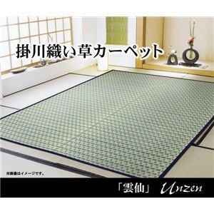 掛川織 い草カーペット 『雲仙』 ブルー 本間8畳(382×382cm) - 拡大画像