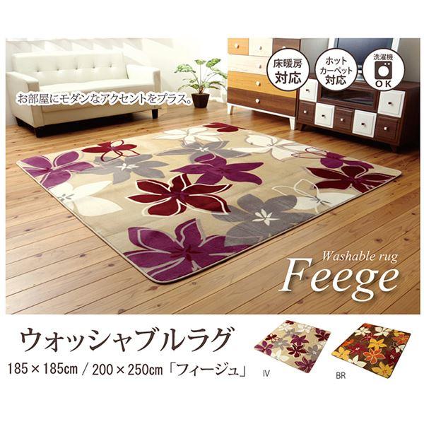 なめらかタッチラグマット 絨毯 洗える 『フィージュ』 ブラウン 約185×185cm