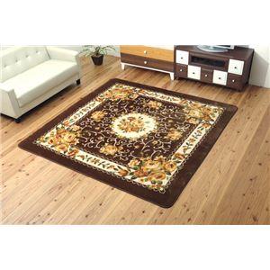ふっくらエレガントラグマット絨毯『エメル』ブラウン約200×300cm洗える床暖房・ホットカーペット対応