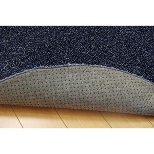 ラグ カーペット 1畳 洗える タフト風 『ノベル』 ブルー 約100×150cm 楕円 裏:すべりにくい加工 (ホットカーペット対応)