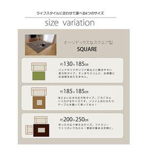 ラグ カーペット 2畳 洗える タフト風 『ノベル』 グリーン 約140×240cm 裏:すべりにくい加工 (ホットカーペット対応)