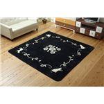 ラグマット カーペット 3畳 洗える ねこ柄 ネコ柄 猫柄 『シャルル』 ブラック 約200×250cm 裏:すべりにくい加工 (ホットカーペット対応)