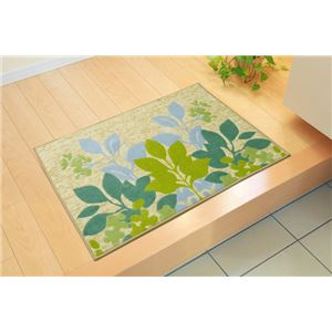 洗えるリーフ柄玄関マットフロアマット『ナターシャ玄関マットフロアマット』グリーン約60×90cm
