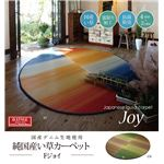 い草ラグ 国産 ラグ カーペット 楕円形 カラフル 『Fジョイ』 レッド 約190×210cm (裏:ウレタン)