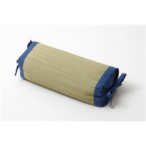 枕 まくら い草枕 消臭 ピロー 国産 無地 高さ調整 『モデル 角枕』 ブルー 約30×15cm - 拡大画像