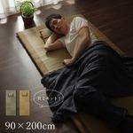 い草マット 国産 ごろ寝マット フリーマット 『ノア 枕付Sらくらく』 ブラウン シングル (マット 約90×200cm)(枕 約40×20cm)