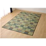 い草ラグ 花ござ カーペット ラグマット 6畳 和柄 『綾花』 ブルー 江戸間6畳 (約261×352cm)