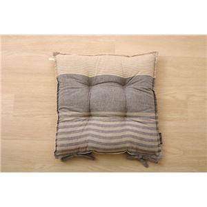 クッション 椅子用 シート ボーダー 綿100% シンプル 『ノース』 ブラウン 約43×43cm 2枚組