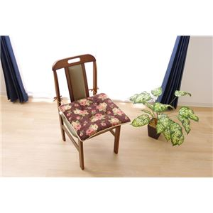 クッション 椅子用 シート エレガンス 花柄 『テセラ』 ブラウン 約43×43cm 2枚組